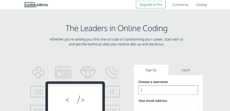 Learn coding and web development: Codecademy