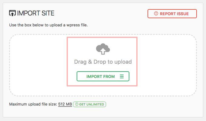 Import screen of the backup plugin