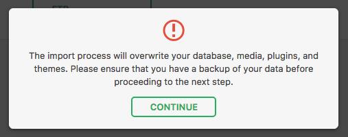 Backup restore warning message