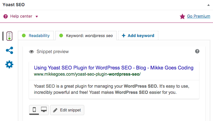 Snippet preview in Yoast for WordPress SEO