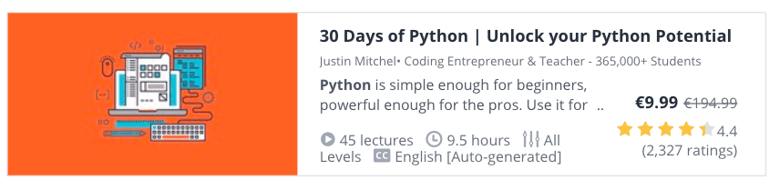 Learn Python Online: 30 Days of Python at Udemy