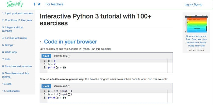 Learn Python Online - Snakify.org