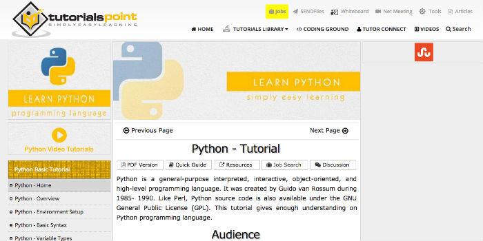Learn Python Online - Tutorialspoint