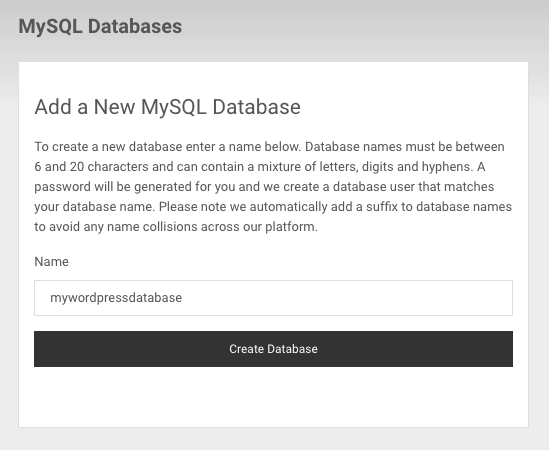 Creating a new MySQL database
