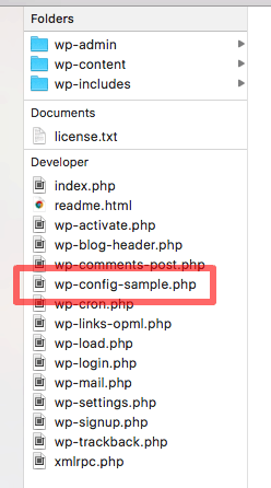 Locating the wp-config-sample.php file in the WordPress root folder