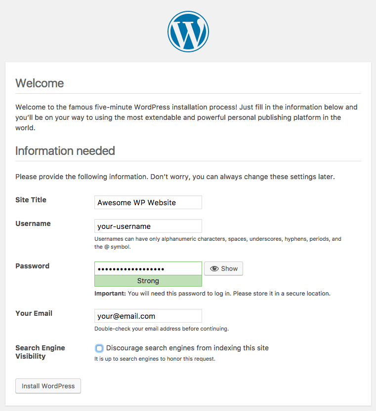 Fill out these fields for your WordPress installation