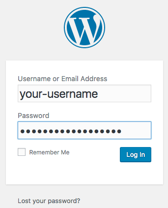 Login to WordPress after the installation using your username and password