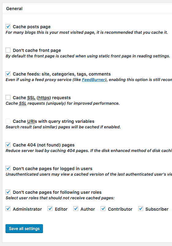 Page Cache General Settings for the W3 Total Cache plugin
