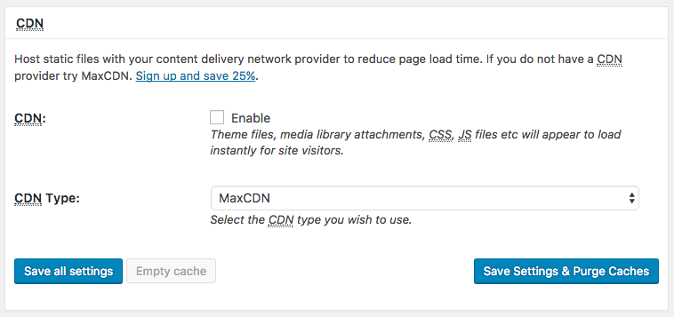 CDN settings for the W3 Total Cache plugin