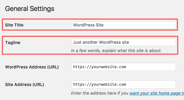 Setup WordPress after installation: change site title and tagline