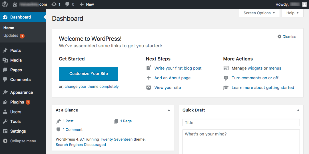 WordPress admin area dashboard after a successful installation