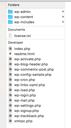 WordPress ZIP archive file structure