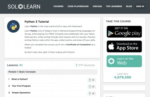 SoloLearn Python 3 Tutorial - Learn Python online