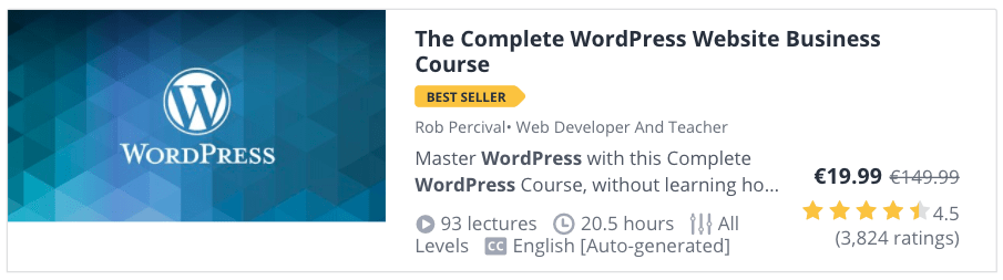 Web Development Courses for Beginners: The Complete WordPress Website Business Course at Udemy