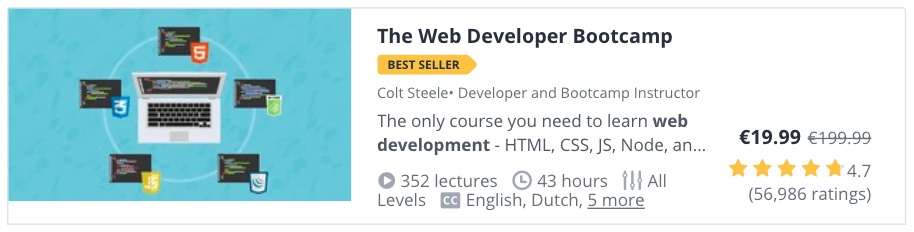 Web Development Courses for Beginners: The Web Developer Bootcamp at Udemy
