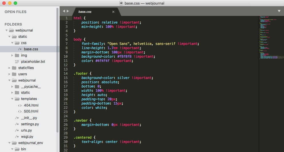 Text editor for coding: Sublime Text
