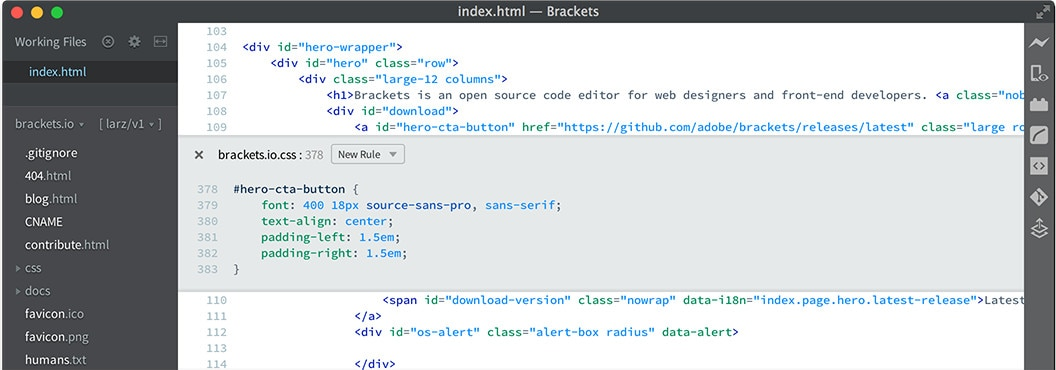 Brackets - Text Editor for coding