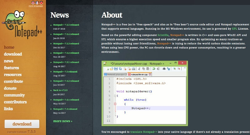 Text editor for coding: Notepad++
