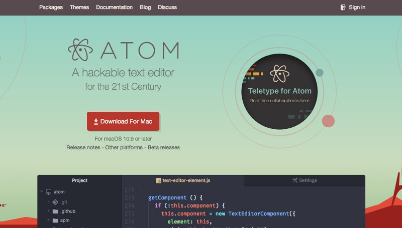 Text Editor for coding: Atom