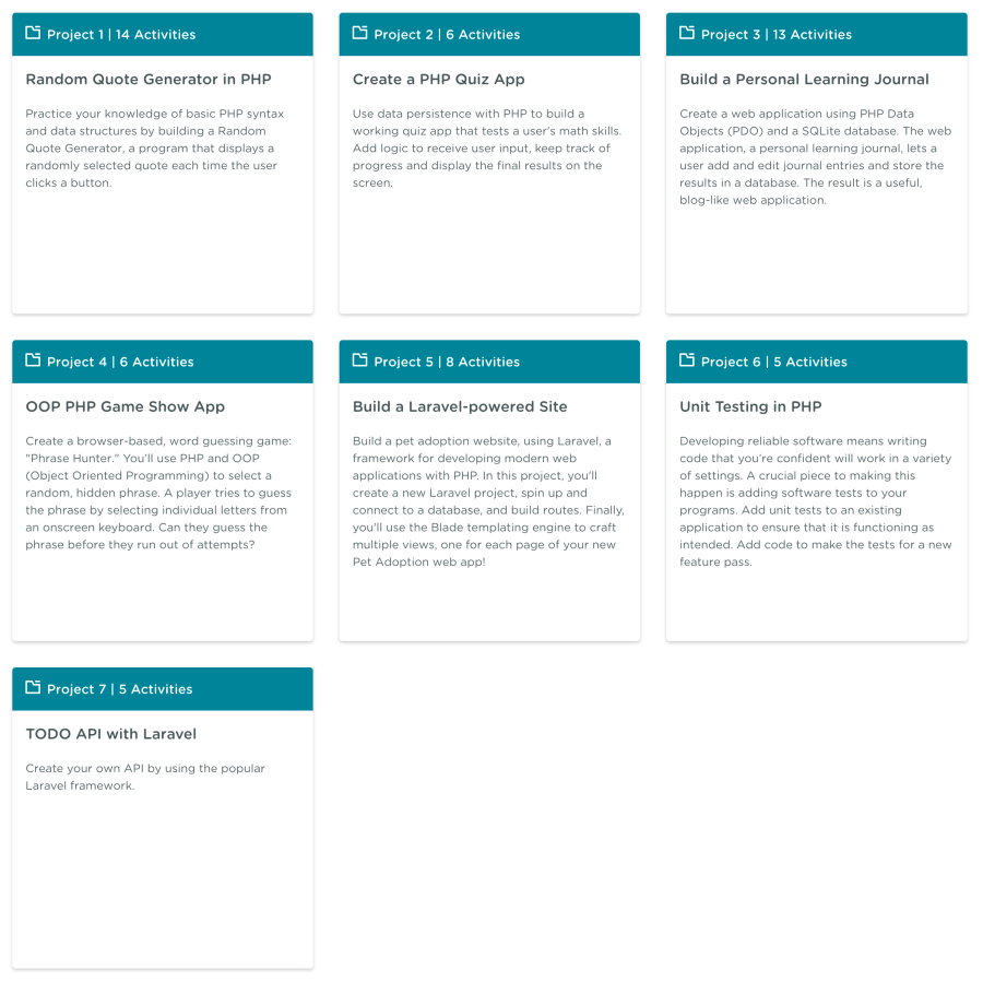 PHP Laravel Development Techdegree projects