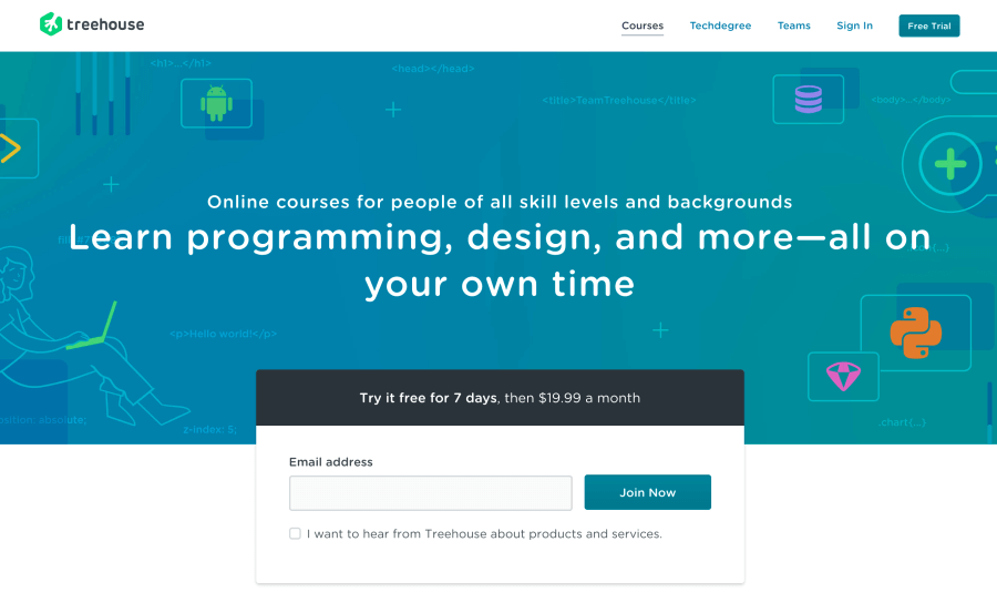 Team Treehouse - Learn coding web development and design for beginners