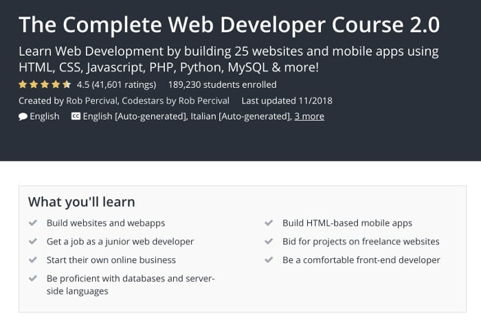 Udemy review - learn web development for beginners from scratch with The Complete Web Developer Course 2.0