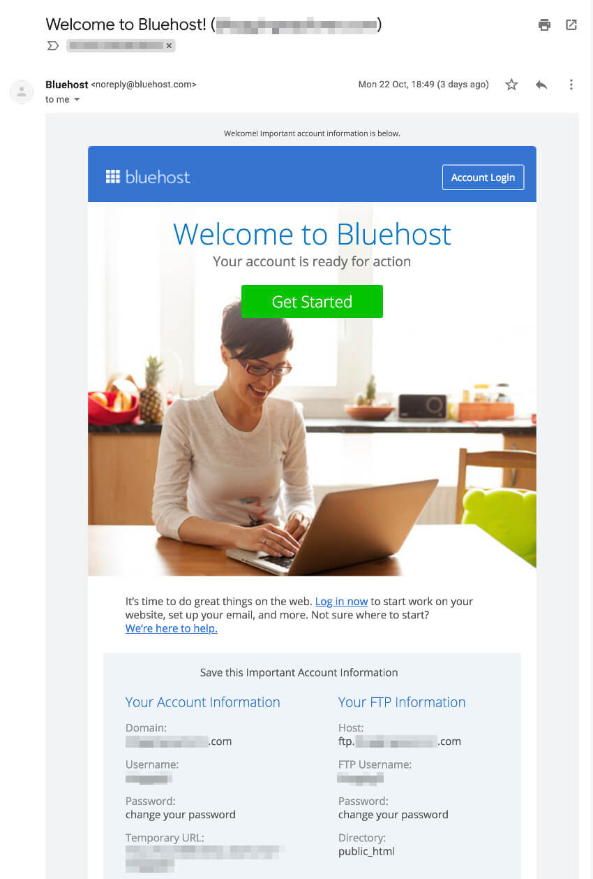 Bluehost WordPress hosting - Account details and credentials