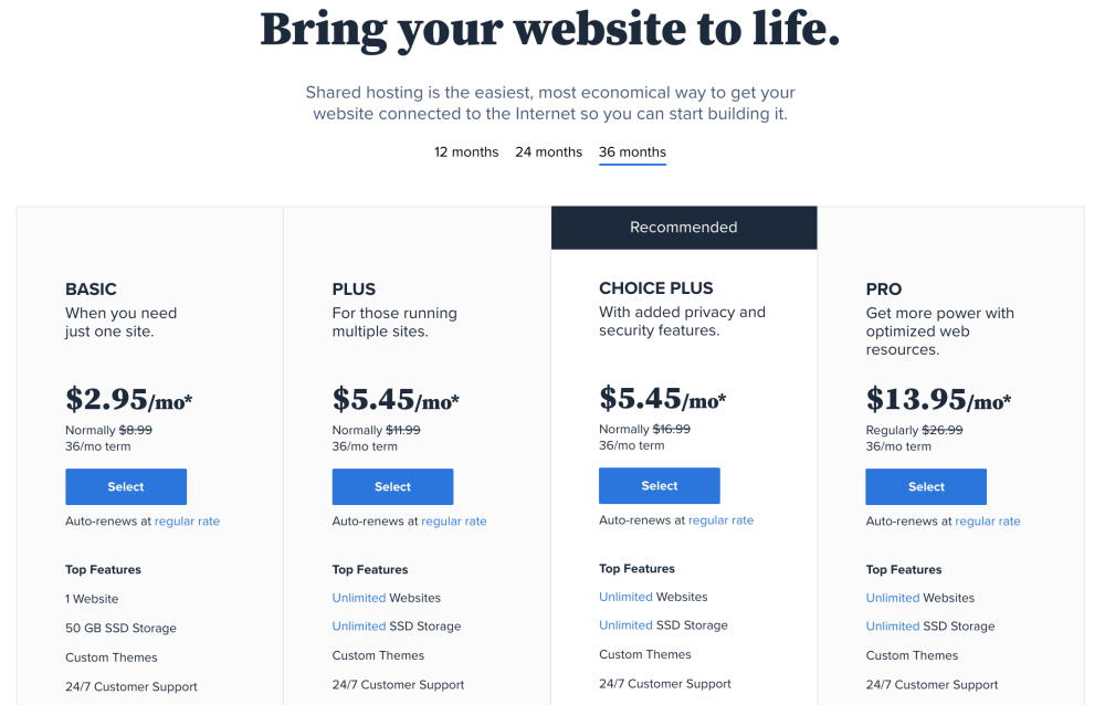 Bluehost web hosting plans – How to build a website