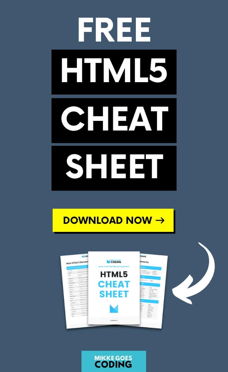 Free HTML5 Cheat Sheet