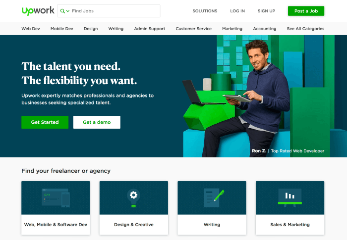 UpWork - Find freelance work online and make money with your coding and web development skills