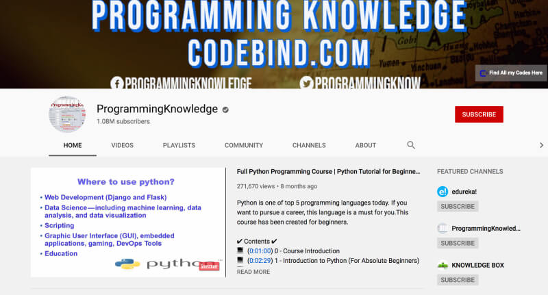 Programming Knowledge - Learn to code on YouTube