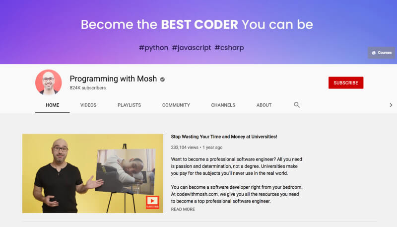 Programming with Mosh - YouTube channels to learn programming for beginners