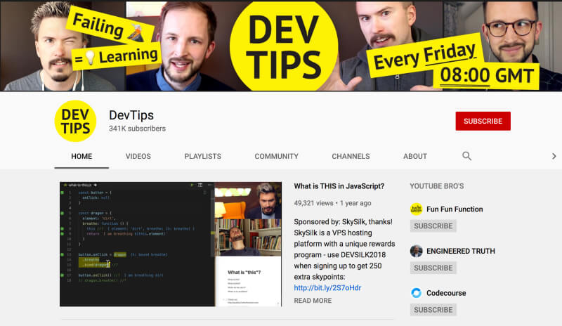 YouTube channels to learn coding and web development - DevTips