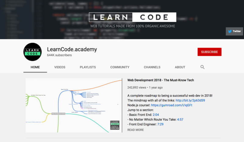 YouTube channels to learn programming and web development for beginners - LearnCodeacademy