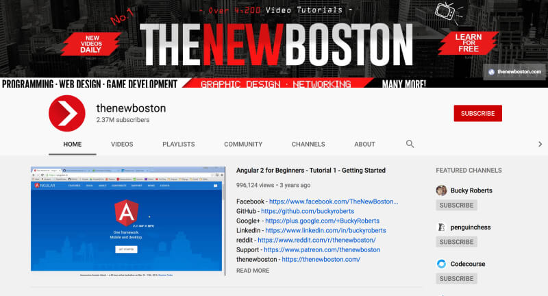 YouTube channels to learn web development and coding - thenewboston