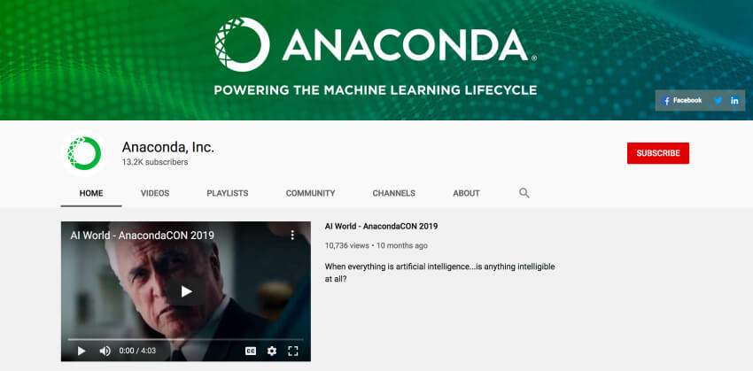 Anaconda Inc - Python programming tutorial on YouTube