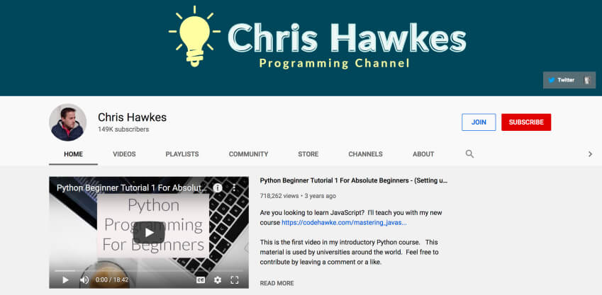 Python online tutorial on YouTube - Chris Hawkes