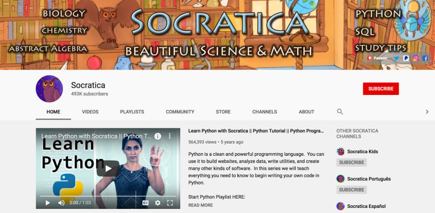 Socratica - Python programming video tutorials for beginners