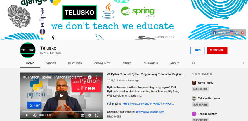 Telusko - The best YouTube channels to learn Pytho programming