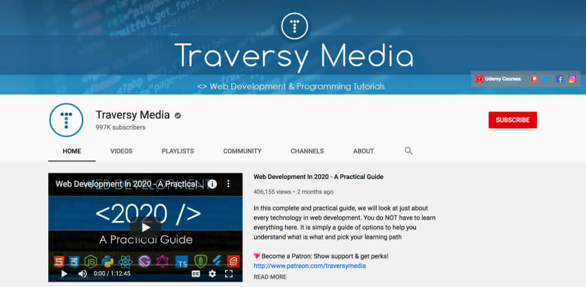 Traversy Media - Free online coding training for beginners