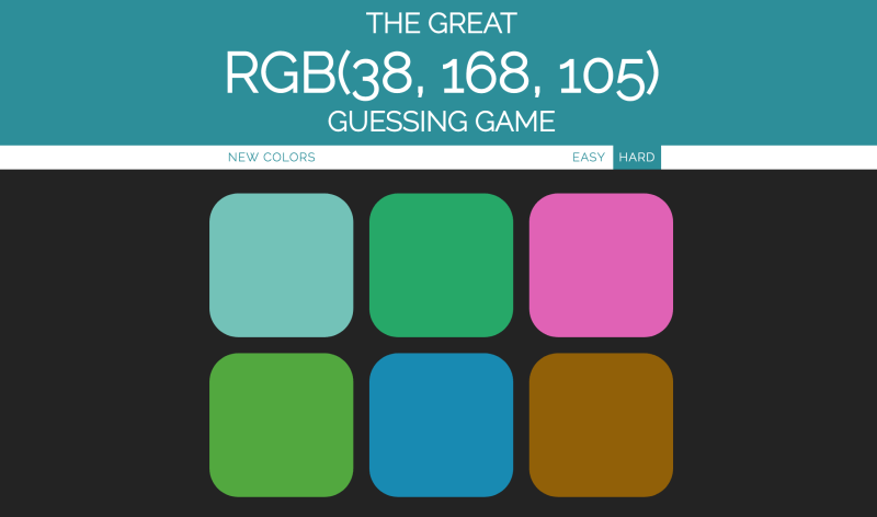 JavaScript RGB color guessing game