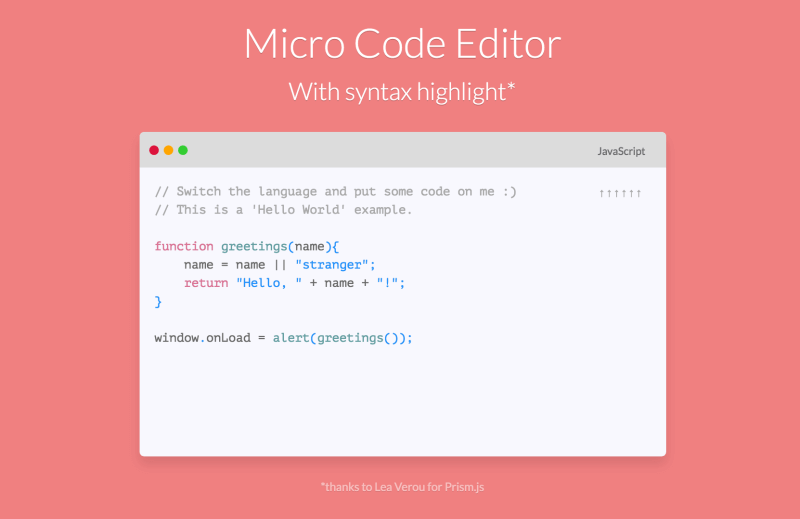 JavaScript micro browser code editor project