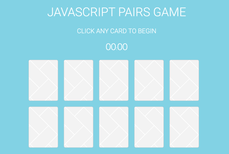 JavaScript pairs game