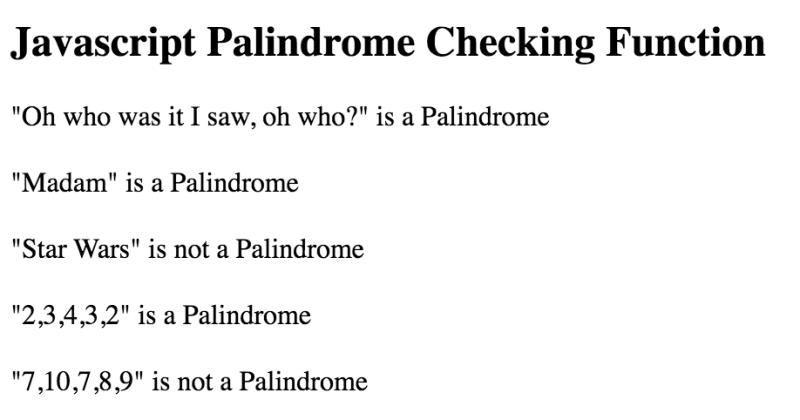 JavaScript palindrome checker