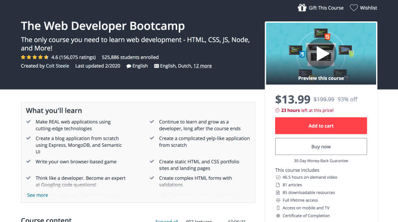 The Web Developer Bootcamp - Learn web development for beginners