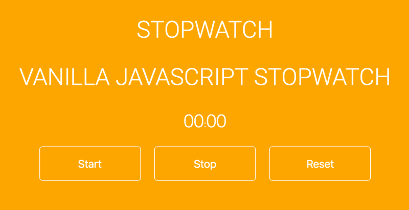 Vanilla JavaScript stopwatch project