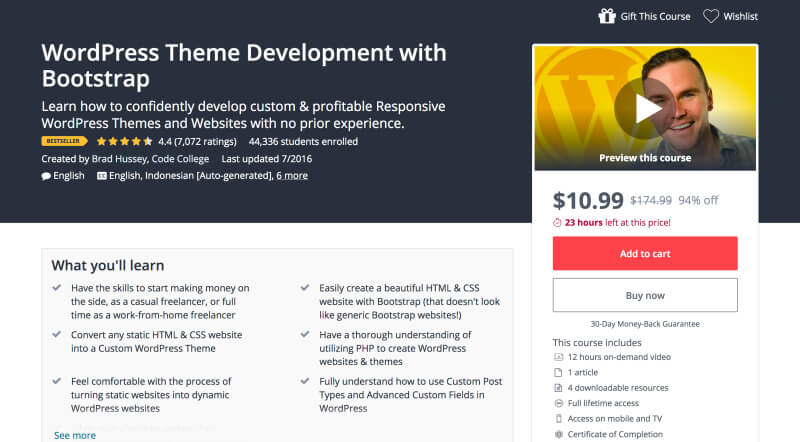 WordPress Theme Development with Bootstrap - Learn WordPress web development online