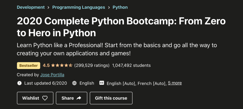 2020 Complete Python Bootcamp Course for Beginners