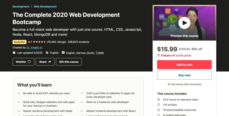 The Complete 2020 Web Development Bootcamp - Best web development courses for beginners