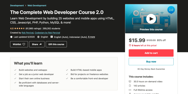 The Complete Web Developer Course 2 - Web development courses for beginners
